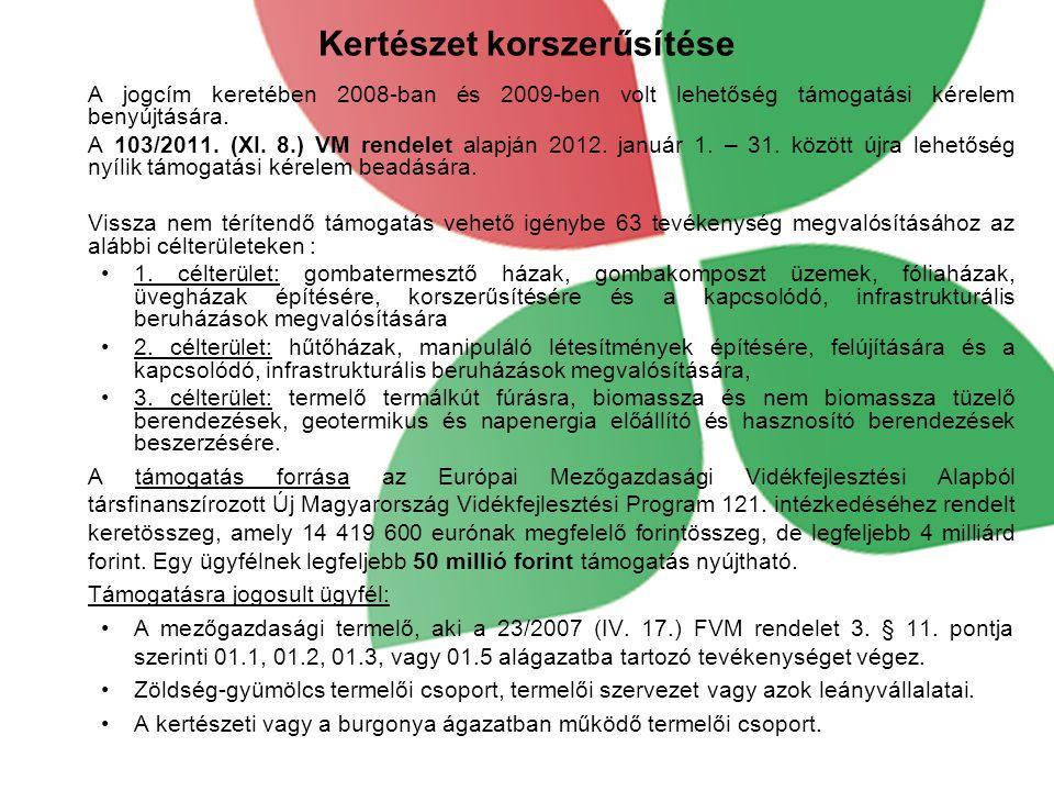 Kertészet korszerűsítése A jogcím keretében 2008-ban és 2009-ben volt lehetőség támogatási kérelem benyújtására.