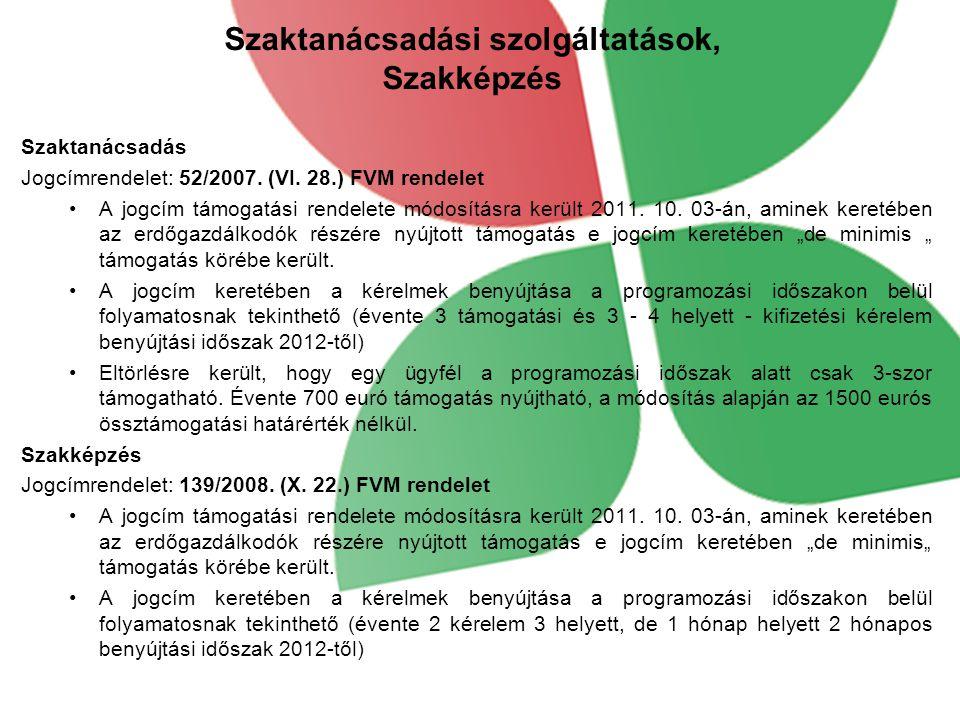 Szaktanácsadási szolgáltatások, Szakképzés Szaktanácsadás Jogcímrendelet: 52/2007.