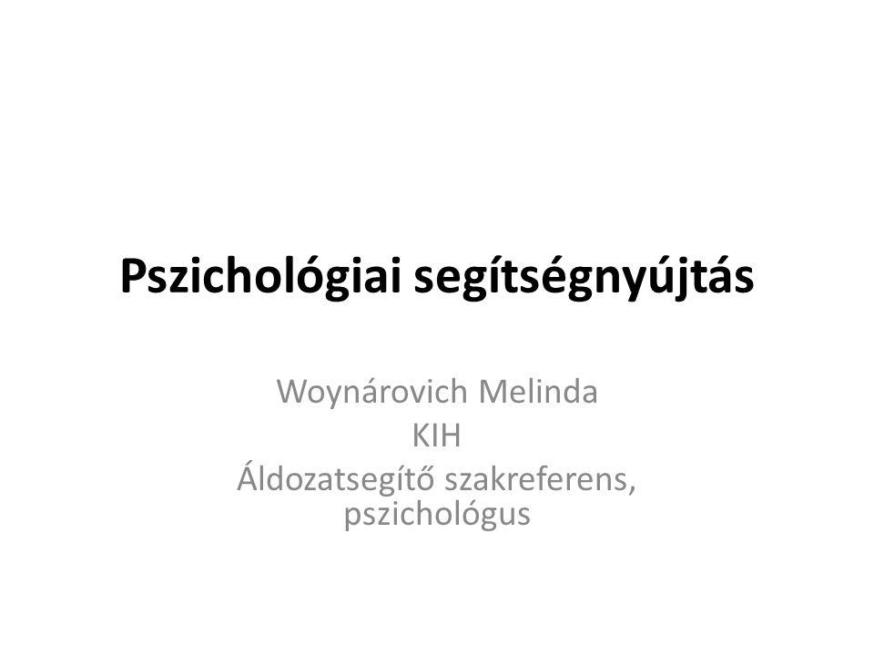 Pszichológiai segítségnyújtás Woynárovich Melinda KIH Áldozatsegítő szakreferens, pszichológus