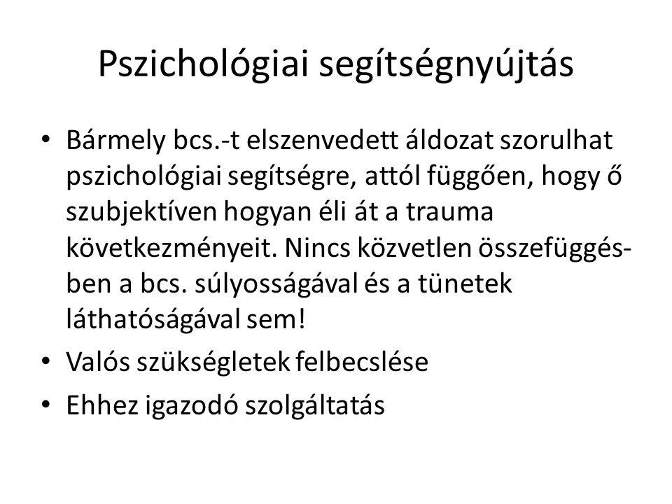 Pszichológiai segítségnyújtás Bármely bcs.-t elszenvedett áldozat szorulhat pszichológiai segítségre, attól függően, hogy ő szubjektíven hogyan éli át a trauma következményeit.