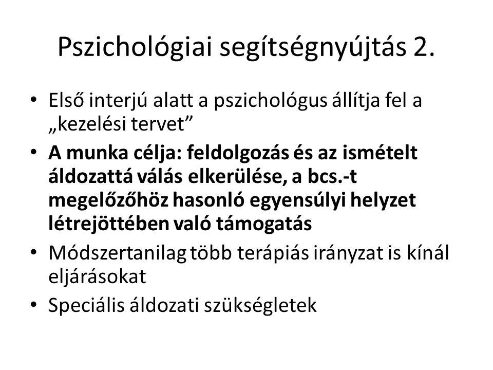 """Pszichológiai segítségnyújtás 2. Első interjú alatt a pszichológus állítja fel a """"kezelési tervet"""" A munka célja: feldolgozás és az ismételt áldozattá"""