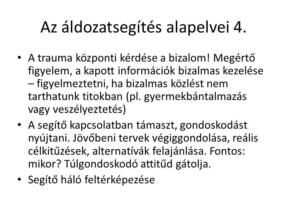 Az áldozatsegítés alapelvei 4.A trauma központi kérdése a bizalom.