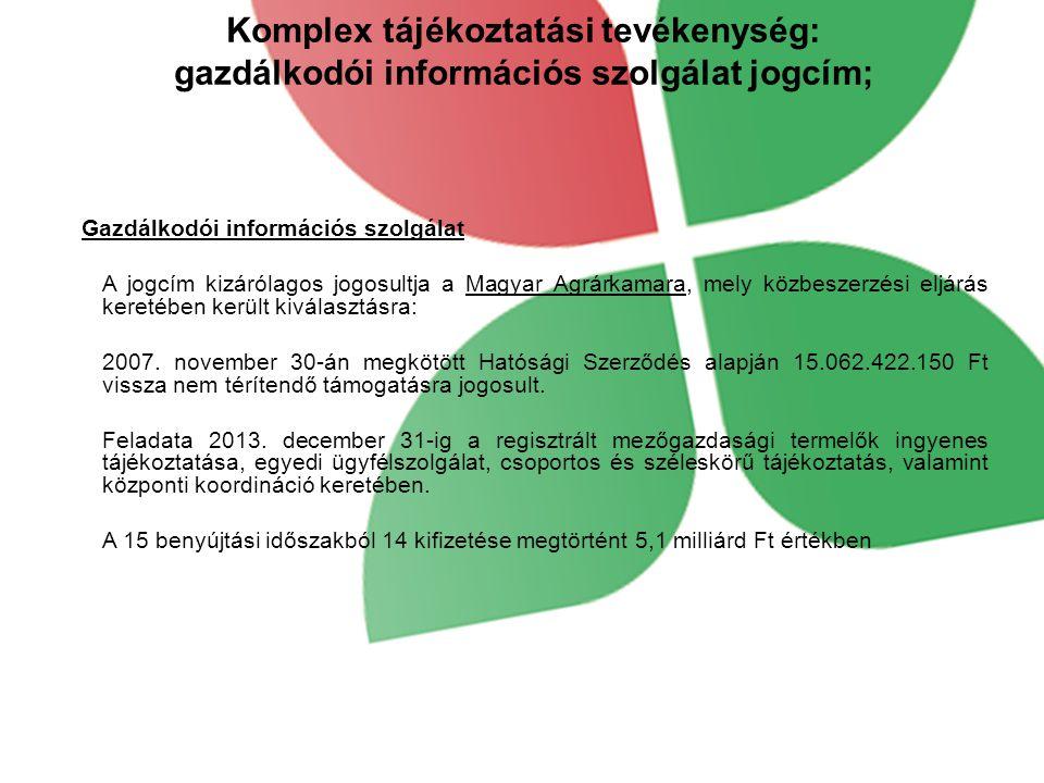 Komplex tájékoztatási tevékenység: gazdálkodói információs szolgálat jogcím; Gazdálkodói információs szolgálat A jogcím kizárólagos jogosultja a Magyar Agrárkamara, mely közbeszerzési eljárás keretében került kiválasztásra: 2007.