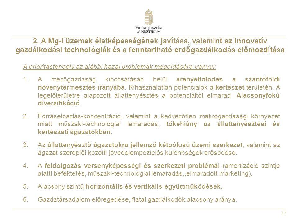11 2. A Mg-i üzemek életképességének javítása, valamint az innovatív gazdálkodási technológiák és a fenntartható erdőgazdálkodás előmozdítása A priori