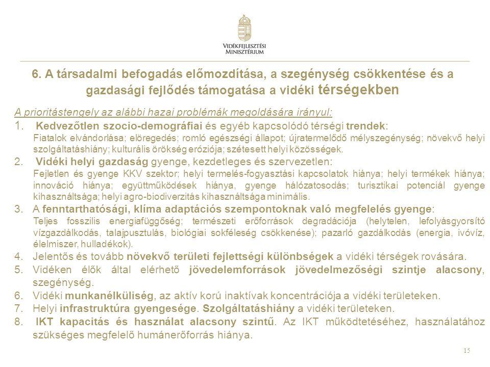 15 6. A társadalmi befogadás előmozdítása, a szegénység csökkentése és a gazdasági fejlődés támogatása a vidéki térségekben A prioritástengely az aláb