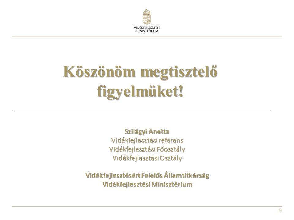 20 Szilágyi Anetta Vidékfejlesztési referens Vidékfejlesztési Főosztály Vidékfejlesztési Osztály Vidékfejlesztésért Felelős Államtitkárság Vidékfejles