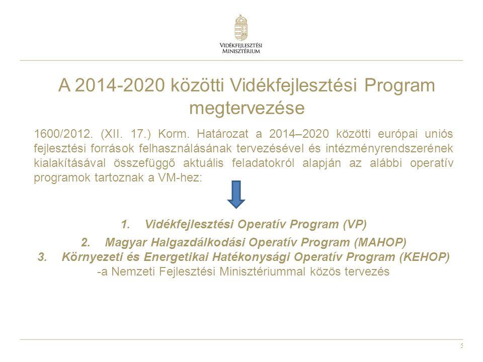 6 A 2014-2020 közötti tervezési folyamat A 2014-2020 közötti időszakra vonatkozó európai uniós társfinanszírozású vidékfejlesztési program és halászati operatív program előkészítésére és megalkotására a Vidékfejlesztési Minisztérium kiemelt projektet indít.