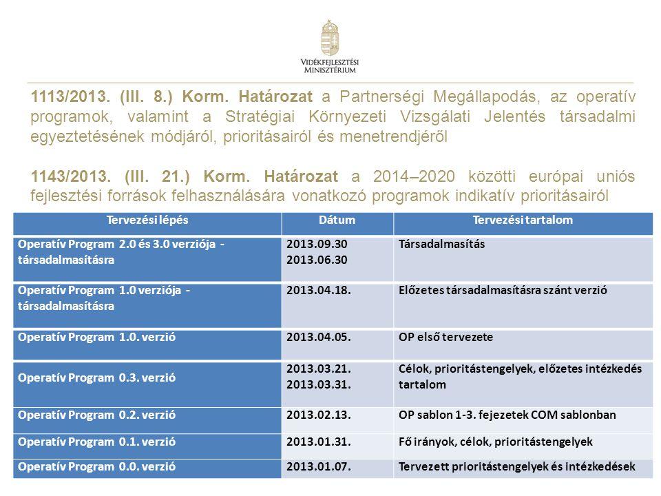 8 1113/2013. (III. 8.) Korm. Határozat a Partnerségi Megállapodás, az operatív programok, valamint a Stratégiai Környezeti Vizsgálati Jelentés társada