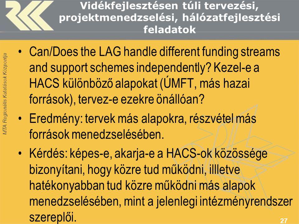 MTA Regionális Kutatások Központja Vidékfejlesztésen túli tervezési, projektmenedzselési, hálózatfejlesztési feladatok Can/Does the LAG handle different funding streams and support schemes independently.