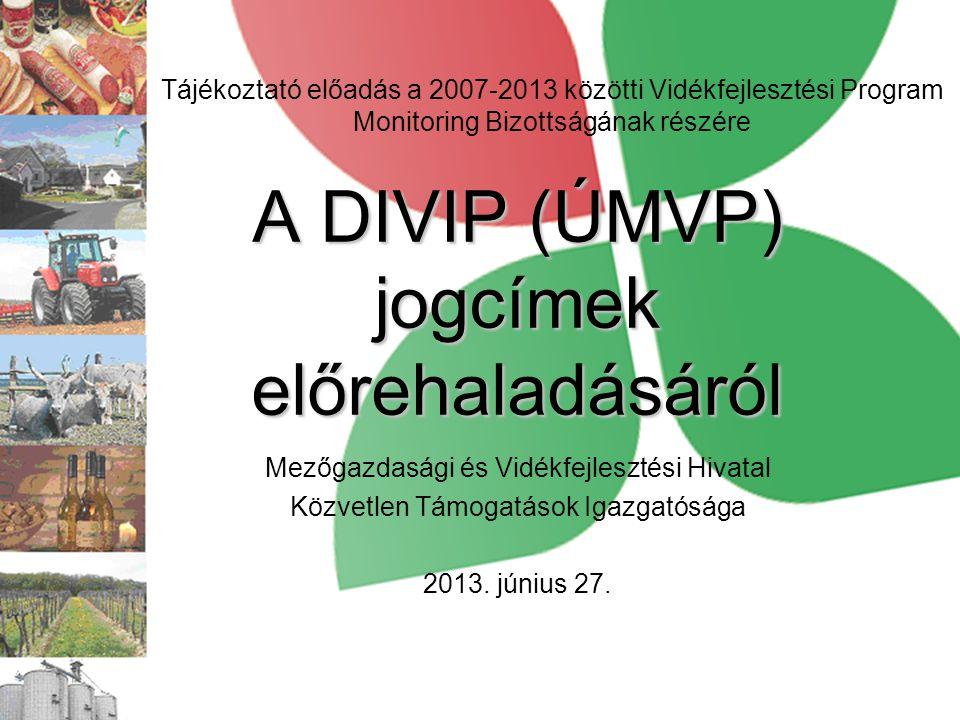 A DIVIP (ÚMVP) jogcímek előrehaladásáról Mezőgazdasági és Vidékfejlesztési Hivatal Közvetlen Támogatások Igazgatósága 2013. június 27. Tájékoztató elő