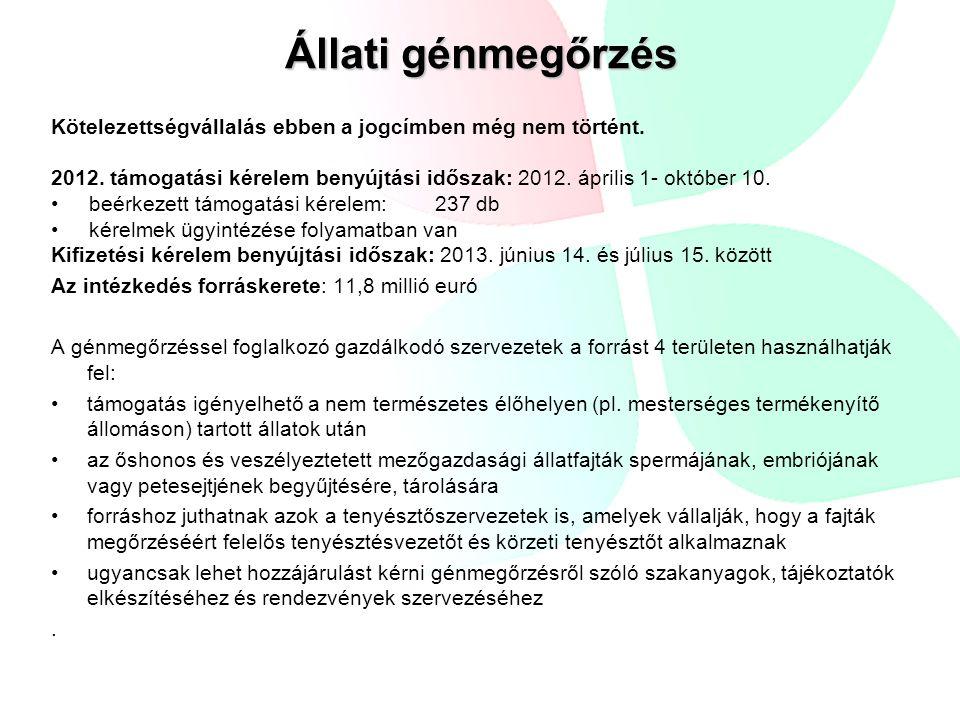 Állati génmegőrzés Kötelezettségvállalás ebben a jogcímben még nem történt. 2012. támogatási kérelem benyújtási időszak: 2012. április 1- október 10.