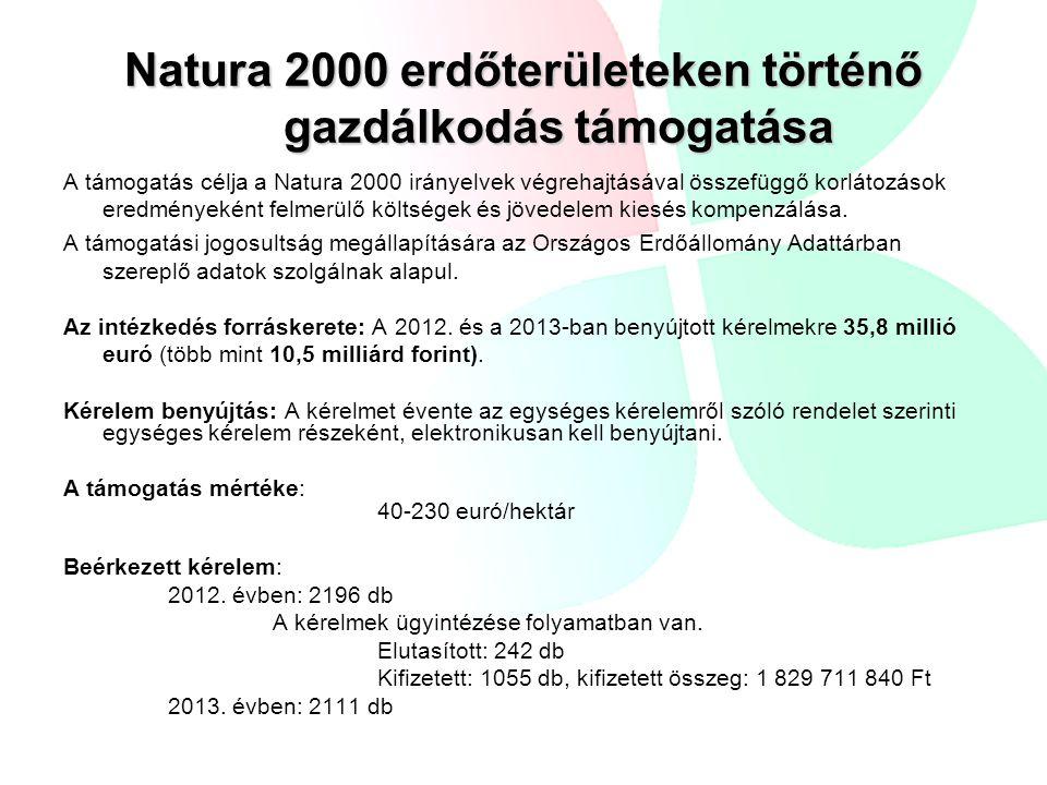 Natura 2000 erdőterületeken történő gazdálkodás támogatása A támogatás célja a Natura 2000 irányelvek végrehajtásával összefüggő korlátozások eredményeként felmerülő költségek és jövedelem kiesés kompenzálása.