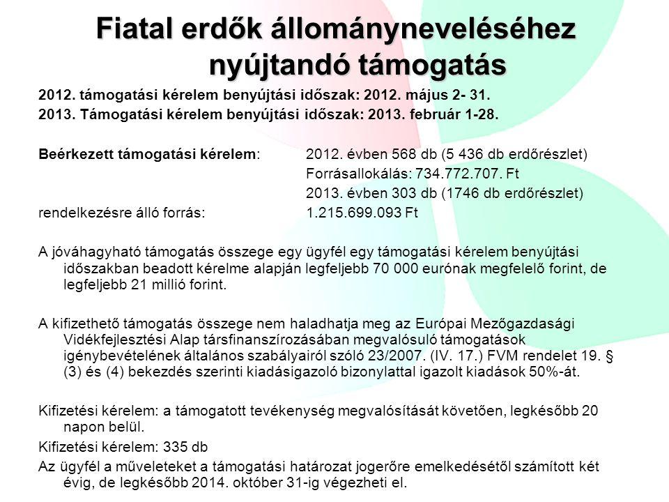Fiatal erdők állományneveléséhez nyújtandó támogatás 2012. támogatási kérelem benyújtási időszak: 2012. május 2- 31. 2013. Támogatási kérelem benyújtá