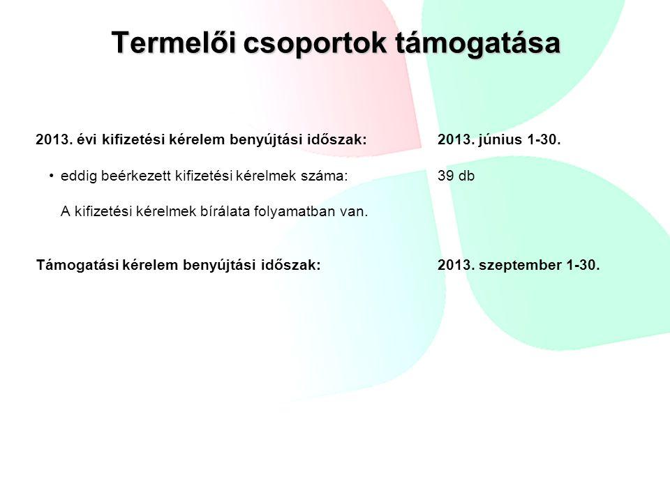 Termelői csoportok támogatása 2013. évi kifizetési kérelem benyújtási időszak: 2013. június 1-30. eddig beérkezett kifizetési kérelmek száma: 39 db A