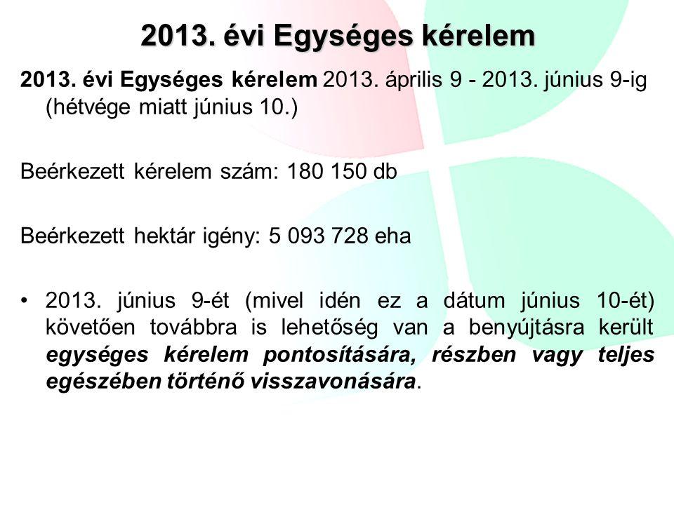 2013. évi Egységes kérelem 2013. évi Egységes kérelem 2013. április 9 - 2013. június 9-ig (hétvége miatt június 10.) Beérkezett kérelem szám: 180 150