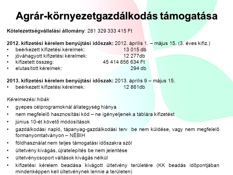 Agrár-környezetgazdálkodás támogatása Kötelezettségvállalási állomány: 281 329 333 415 Ft 2012. kifizetési kérelem benyújtási időszak: 2012. április 1