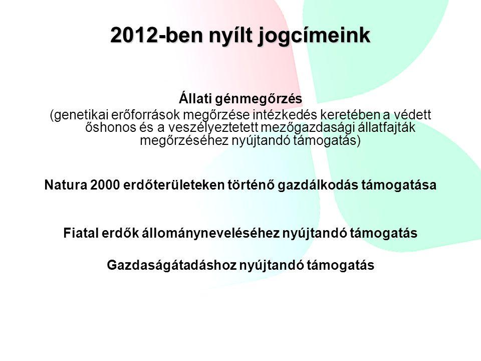 2012-ben nyílt jogcímeink Állati génmegőrzés (genetikai erőforrások megőrzése intézkedés keretében a védett őshonos és a veszélyeztetett mezőgazdasági