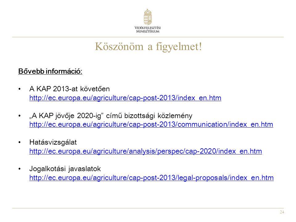 """24 Köszönöm a figyelmet! Bővebb információ: A KAP 2013-at követően http://ec.europa.eu/agriculture/cap-post-2013/index_en.htm """"A KAP jövője 2020-ig"""" c"""