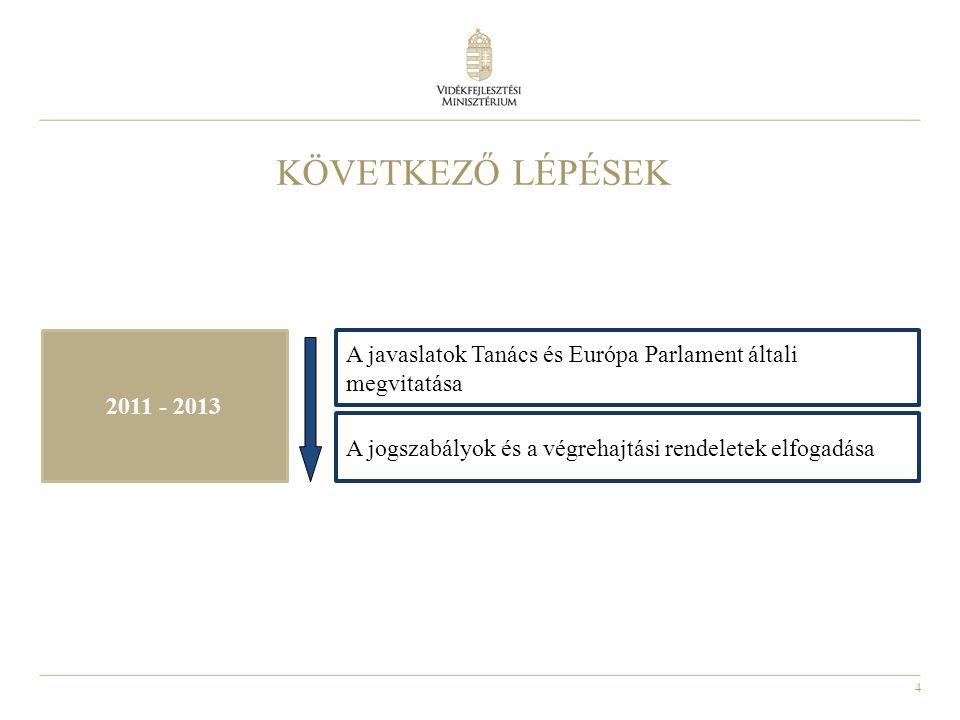 4 KÖVETKEZŐ LÉPÉSEK 2011 - 2013 A javaslatok Tanács és Európa Parlament általi megvitatása A jogszabályok és a végrehajtási rendeletek elfogadása