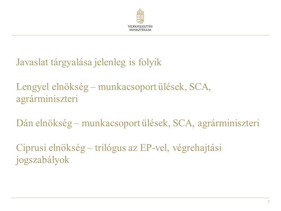 5 Javaslat tárgyalása jelenleg is folyik Lengyel elnökség – munkacsoport ülések, SCA, agrárminiszteri Dán elnökség – munkacsoport ülések, SCA, agrármi