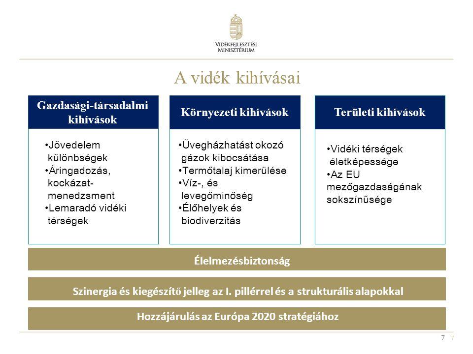 7 7 A vidék kihívásai Gazdasági-társadalmi kihívások Területi kihívások Jövedelem különbségek Áringadozás, kockázat- menedzsment Lemaradó vidéki térsé