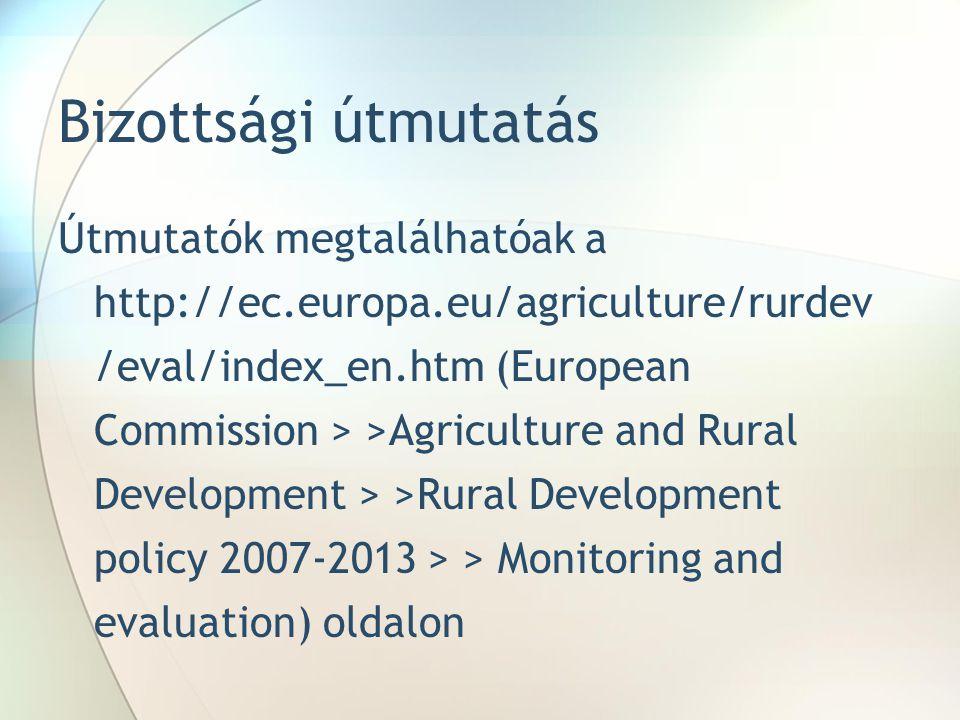 Bizottsági útmutatás Útmutatók megtalálhatóak a http://ec.europa.eu/agriculture/rurdev /eval/index_en.htm (European Commission > >Agriculture and Rural Development > >Rural Development policy 2007-2013 > > Monitoring and evaluation) oldalon