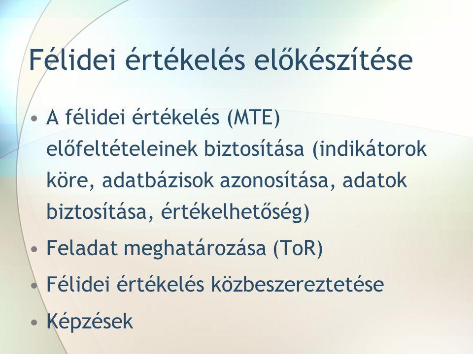Félidei értékelés előkészítése A félidei értékelés (MTE) előfeltételeinek biztosítása (indikátorok köre, adatbázisok azonosítása, adatok biztosítása, értékelhetőség) Feladat meghatározása (ToR) Félidei értékelés közbeszereztetése Képzések