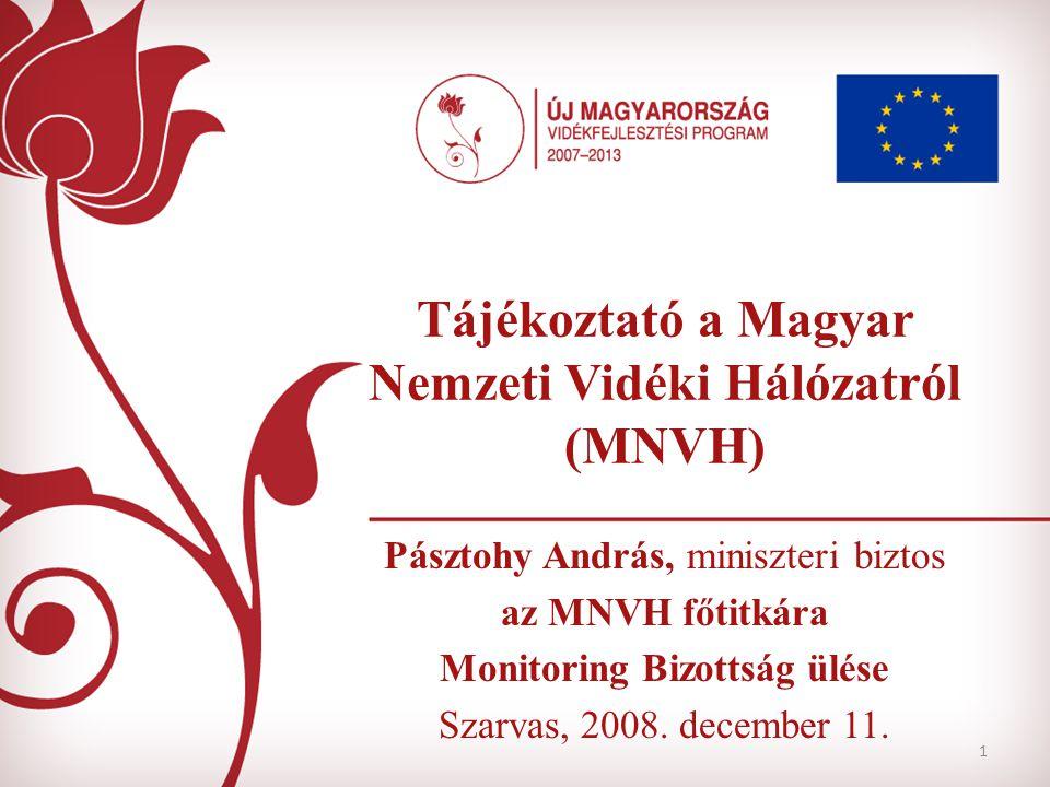 1 Tájékoztató a Magyar Nemzeti Vidéki Hálózatról (MNVH) Pásztohy András, miniszteri biztos az MNVH főtitkára Monitoring Bizottság ülése Szarvas, 2008.