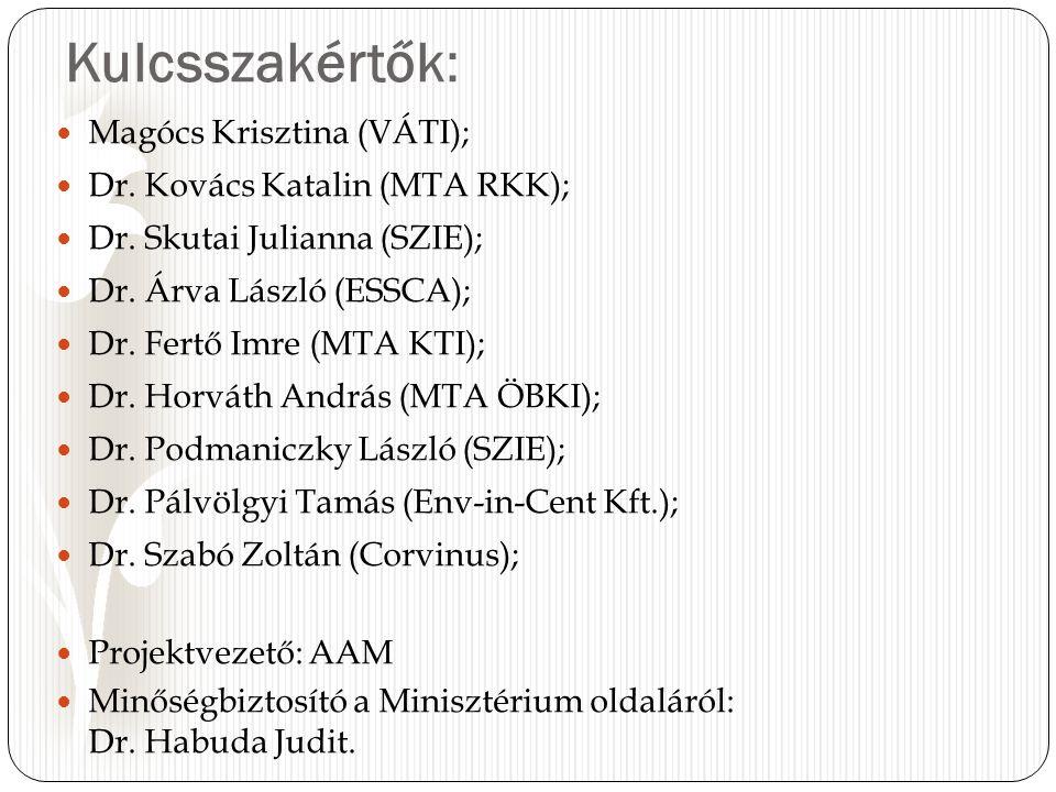 Kulcsszakértők: Magócs Krisztina (VÁTI); Dr. Kovács Katalin (MTA RKK); Dr.