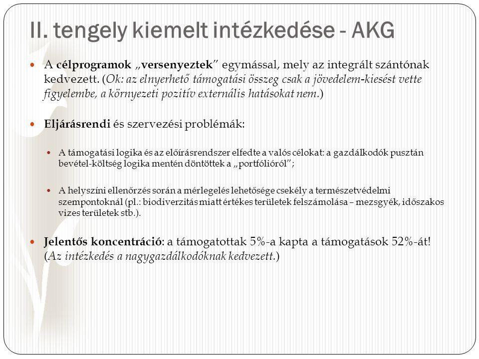 """II. tengely kiemelt intézkedése - AKG A célprogramok """" versenyeztek """" egymással, mely az integrált szántónak kedvezett. ( Ok: az elnyerhető támogatási"""
