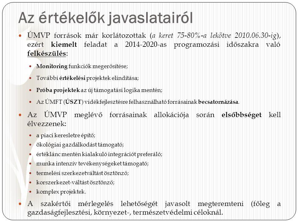 Az értékelők javaslatairól ÚMVP források már korlátozottak ( a keret 75-80%-a lekötve 2010.06.30-ig ), ezért kiemelt feladat a 2014-2020-as programozási időszakra való felkészülés : Monitoring funkciók megerősítése; További értékelési projektek elindítása; Próba projektek az új támogatási logika mentén; Az ÚMFT ( ÚSZT ) vidékfejlesztésre felhasználható forrásainak becsatornázása.