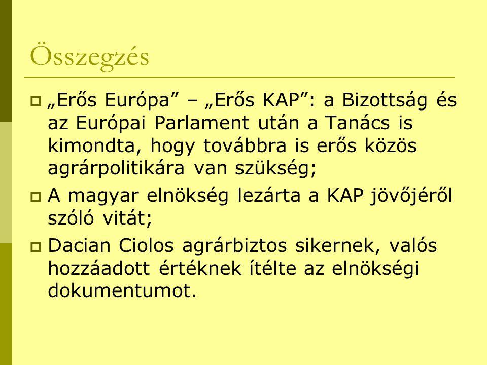 """Összegzés  """"Erős Európa – """"Erős KAP : a Bizottság és az Európai Parlament után a Tanács is kimondta, hogy továbbra is erős közös agrárpolitikára van szükség;  A magyar elnökség lezárta a KAP jövőjéről szóló vitát;  Dacian Ciolos agrárbiztos sikernek, valós hozzáadott értéknek ítélte az elnökségi dokumentumot."""