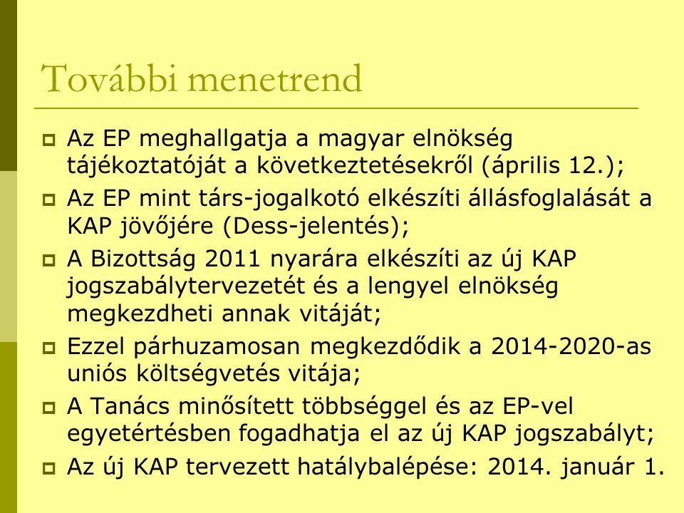 További menetrend  Az EP meghallgatja a magyar elnökség tájékoztatóját a következtetésekről (április 12.);  Az EP mint társ-jogalkotó elkészíti állásfoglalását a KAP jövőjére (Dess-jelentés);  A Bizottság 2011 nyarára elkészíti az új KAP jogszabálytervezetét és a lengyel elnökség megkezdheti annak vitáját;  Ezzel párhuzamosan megkezdődik a 2014-2020-as uniós költségvetés vitája;  A Tanács minősített többséggel és az EP-vel egyetértésben fogadhatja el az új KAP jogszabályt;  Az új KAP tervezett hatálybalépése: 2014.