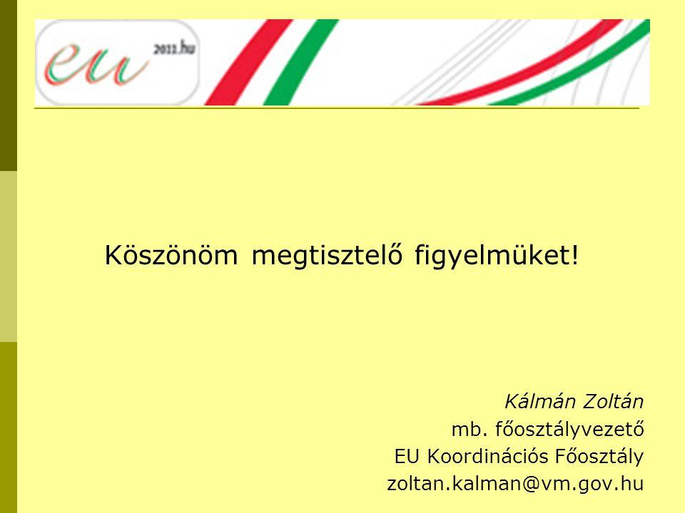Köszönöm megtisztelő figyelmüket! Kálmán Zoltán mb. főosztályvezető EU Koordinációs Főosztály zoltan.kalman@vm.gov.hu