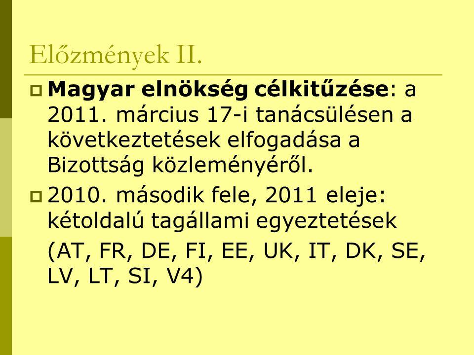 Előzmények II.  Magyar elnökség célkitűzése: a 2011. március 17-i tanácsülésen a következtetések elfogadása a Bizottság közleményéről.  2010. másodi