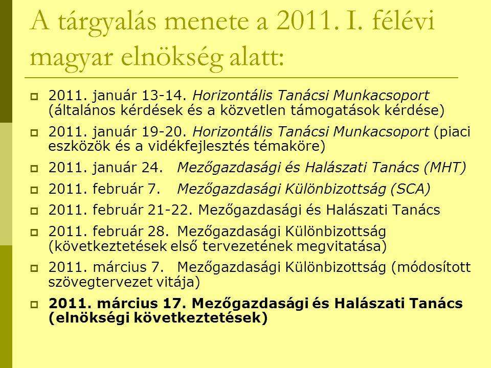 A tárgyalás menete a 2011. I. félévi magyar elnökség alatt:  2011. január 13-14. Horizontális Tanácsi Munkacsoport (általános kérdések és a közvetlen