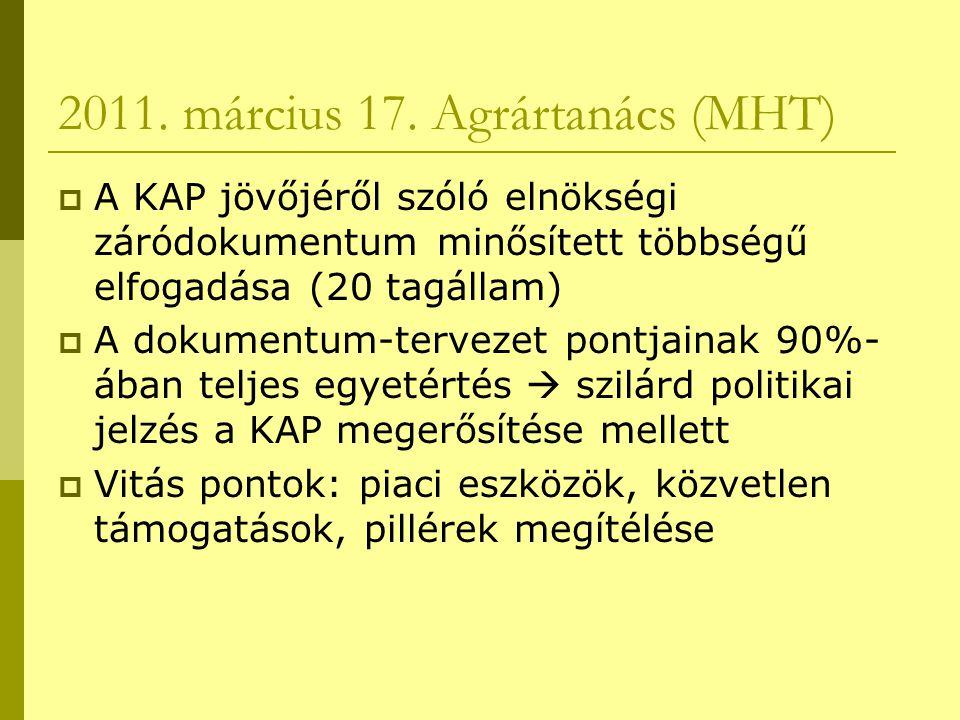 2011. március 17. Agrártanács (MHT)  A KAP jövőjéről szóló elnökségi záródokumentum minősített többségű elfogadása (20 tagállam)  A dokumentum-terve