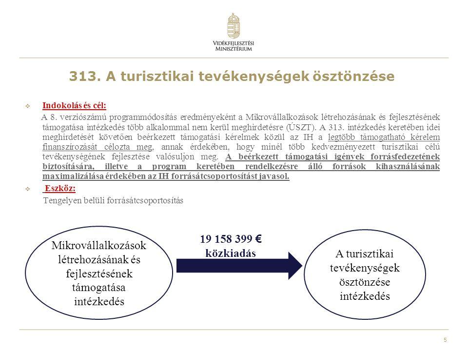 313. A turisztikai tevékenységek ösztönzése  Indokolás és cél: A 8. verziószámú programmódosítás eredményeként a Mikrovállalkozások létrehozásának és