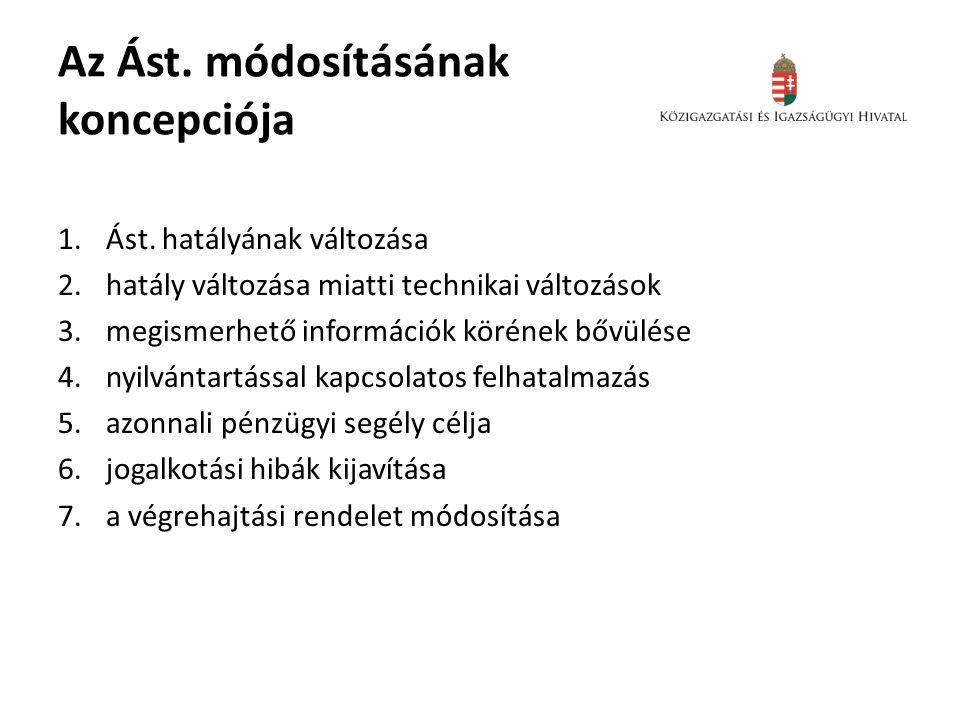 Az Ást. módosításának koncepciója 1.Ást.