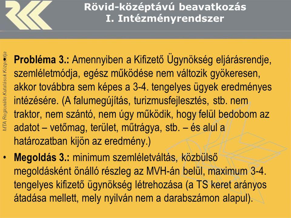 MTA Regionális Kutatások Központja Rövid-középtávú beavatkozás I.