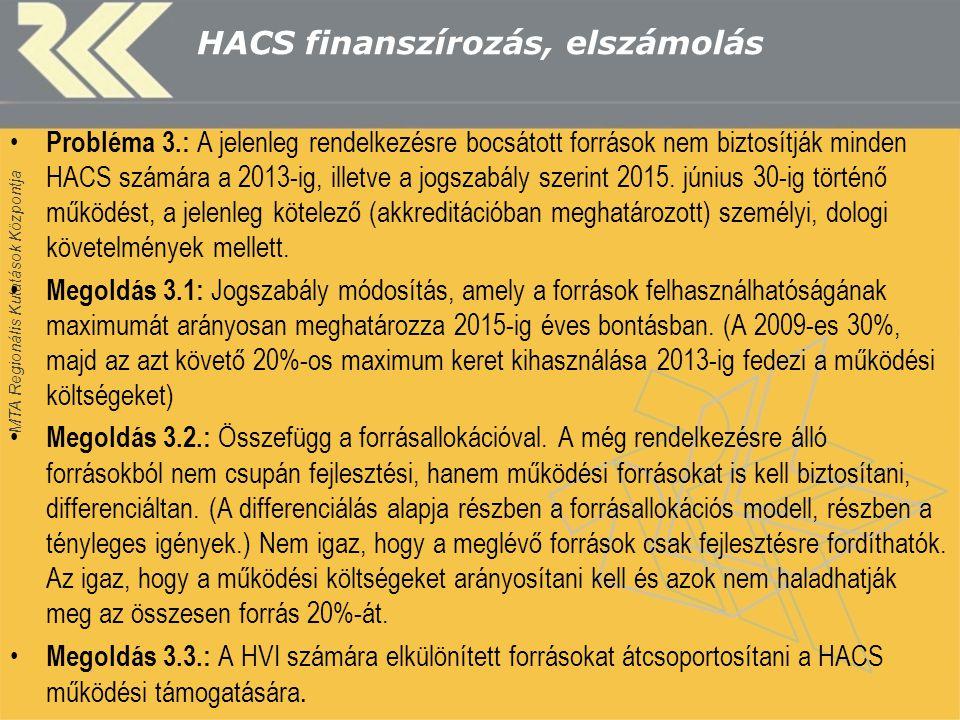 MTA Regionális Kutatások Központja HACS finanszírozás, elszámolás Probléma 3.: A jelenleg rendelkezésre bocsátott források nem biztosítják minden HACS számára a 2013-ig, illetve a jogszabály szerint 2015.