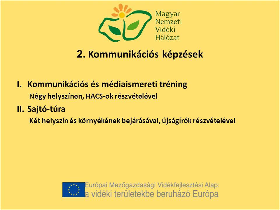 2. Kommunikációs képzések I.Kommunikációs és médiaismereti tréning Négy helyszínen, HACS-ok részvételével II.Sajtó-túra Két helyszín és környékének be