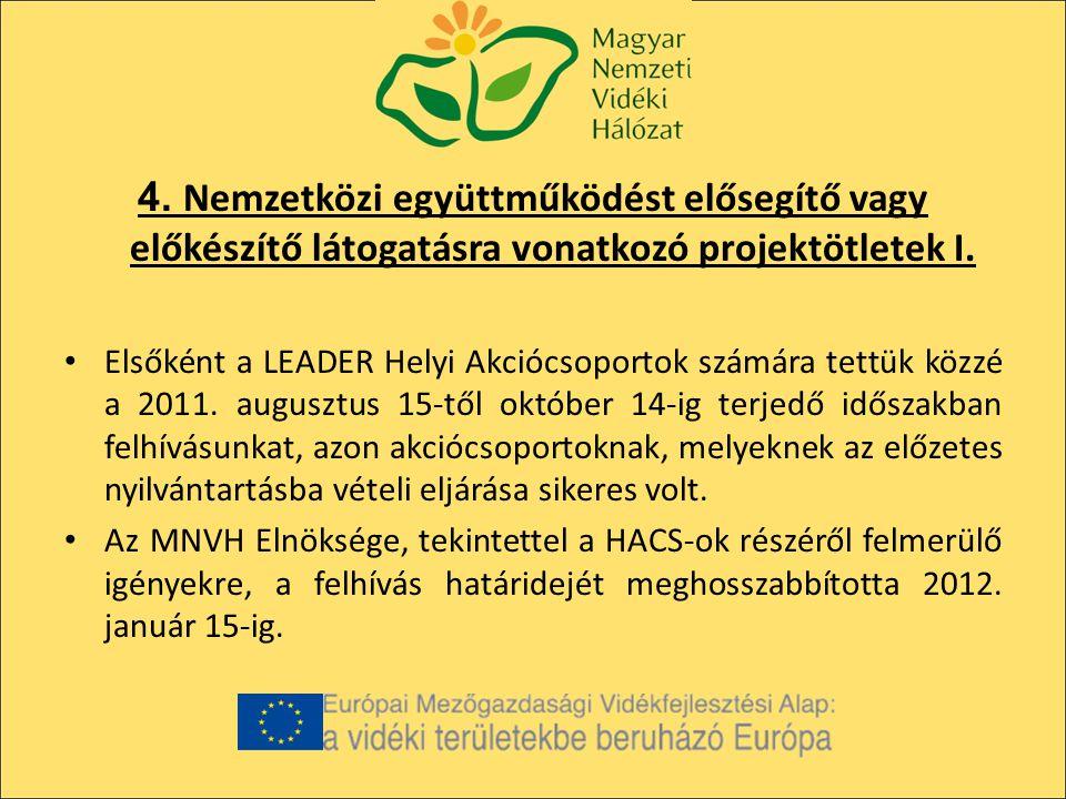 4. Nemzetközi együttműködést elősegítő vagy előkészítő látogatásra vonatkozó projektötletek I.