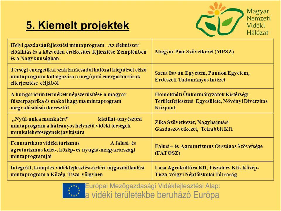 5. Kiemelt projektek Helyi gazdaságfejlesztési mintaprogram - Az élelmiszer- előállítás és a közvetlen értékesítés fejlesztése Zemplénben és a Nagykun