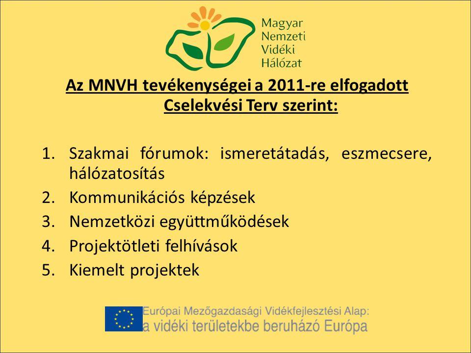 Az MNVH tevékenységei a 2011-re elfogadott Cselekvési Terv szerint: 1.Szakmai fórumok: ismeretátadás, eszmecsere, hálózatosítás 2.Kommunikációs képzések 3.Nemzetközi együttműködések 4.Projektötleti felhívások 5.Kiemelt projektek