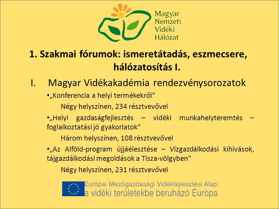 1. Szakmai fórumok: ismeretátadás, eszmecsere, hálózatosítás I.
