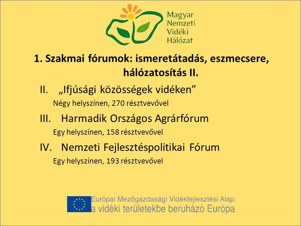 1.Szakmai fórumok: ismeretátadás, eszmecsere, hálózatosítás III.
