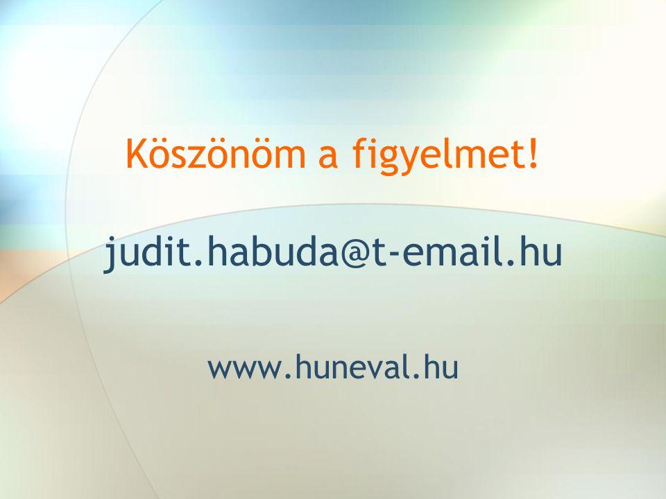 Köszönöm a figyelmet! judit.habuda@t-email.hu www.huneval.hu