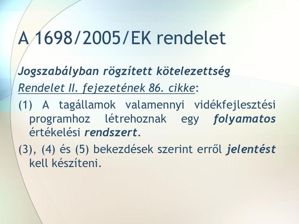 A 1698/2005/EK rendelet Jogszabályban rögzített kötelezettség Rendelet II.