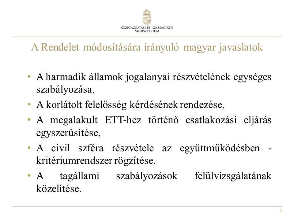 6 A Rendelet módosítására irányuló magyar javaslatok A harmadik államok jogalanyai részvételének egységes szabályozása, A korlátolt felelősség kérdésének rendezése, A megalakult ETT-hez történő csatlakozási eljárás egyszerűsítése, A civil szféra részvétele az együttműködésben - kritériumrendszer rögzítése, A tagállami szabályozások felülvizsgálatának közelítése.